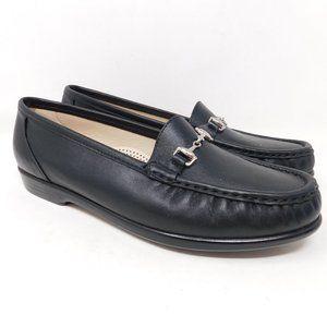 SAS Black Leather Horsebit Loafers Shoes 9M
